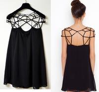 2014 New Fashion Sping Summer Cute Black Party Plain Girl Cut Out Chiffon Mini Shift Dress Cheap Vestidos Free Shipping Y03111