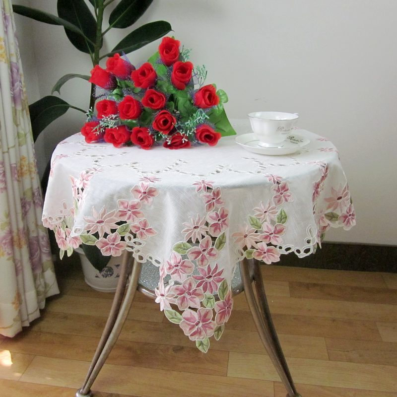 Embroidery table cloth tablecloth coffee table round table electrical appliances towel cover 85cm square table(China (Mainland))