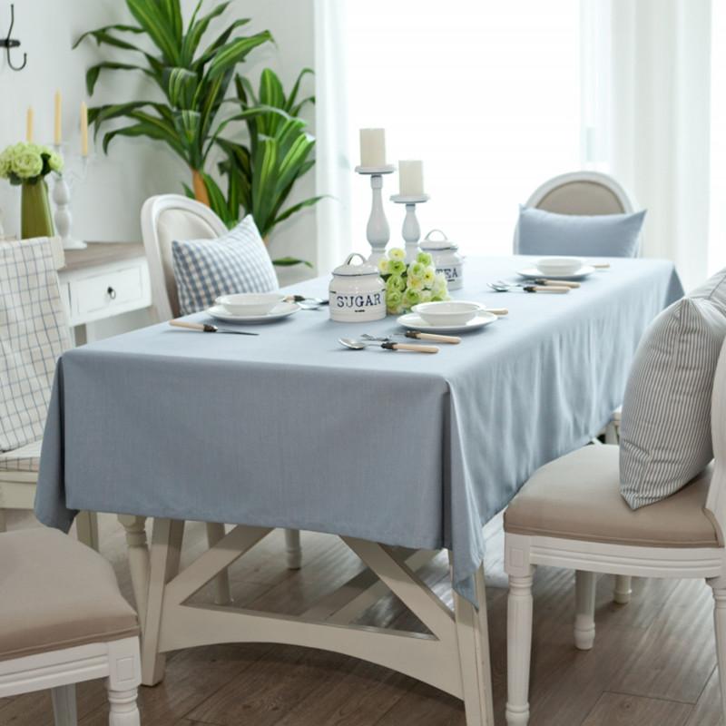 Table cloth fabric yarn dyed fabric light blue table cloth solid color dining table cloth table cloth tablecloth fashion(China (Mainland))