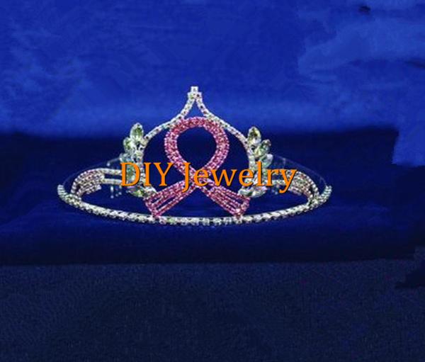 Pink Rhinestone Ribbon Tiaras Breast Cancer Awareness Crown TR162(China (Mainland))