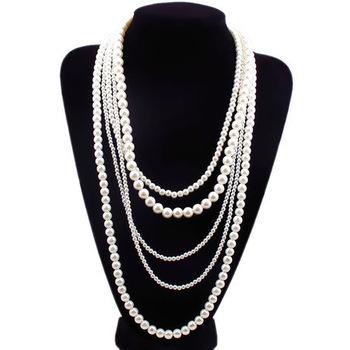 Free shipping New Stylish and elegant oversized jeweled imitation pearl necklace long section of multilayer sweater chain(China (Mainland))