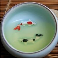 4pcs/lot longquan celadon ceramic tea cup set,chinese dehua porcelain fish kung fu cups teacup sets,china kungfu gongfu tea cups