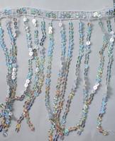 New costume sequin trimming Latin dance paillette tassel lace Gold silver 20cm