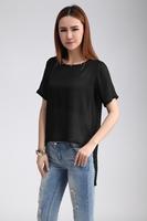 2014 new fashion  women clothing t shirt thin tops tee clothes short sleeve T-shirt  Asymmetric o-neck blouse Y03095