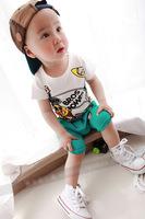 2014 baby child children 100% short-sleeve cotton t-shirt capris set