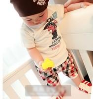 2014 summer baby child children 100% short-sleeve cotton t-shirt plaid casual capris set