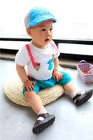 2013 summer suspenders fish baby clothing girls clothing male 100% cotton short-sleeve set
