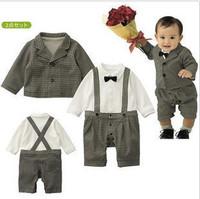 Male child infant romper bib pants suit jacket formal dress set