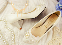 1802 Wholesale! Pointed Toe Pearl Flower Women Pumps bridesmaid Wedding shoes 3.5/5.5/8.5/10cm White Solid