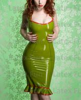 Green Nature Latex Sexy Dress 0.4MM Sleeveless Rubber Skirt Falbala