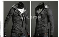 New 2014 fashion Sportswear   hood sweatshirt leather zip hoodies clothing men sweatshirt hoodie men jackets for men with hood