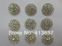 Free shipping 3 rows Round Crystal Rhinestone Button FLAT BACK,20PCS/LOT