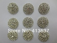 Free shipping 3 rows Round Crystal Rhinestone Button FLAT BACK,20PCS/LOT