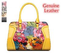 2014 free B shipping fashion 100% genuine leather bag  women handbag crocodile pattern j painting  big female shoulder tote