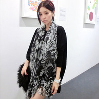 Devil black and white print scarf bali yarn fluid spring and summer thin sun scarf cape