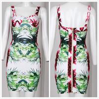 new arrival shoulder straps printed knitted women  bandage dress celebrity dresses H8666