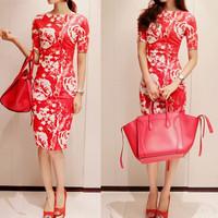 2014 hot sale slim short-sleeve empire knee-length 3d flower print dress red rose vestidos sexy dress arty dresses