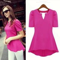 Free shipping new 2014 summer fashion women's medium-long puff sleeve chiffon shirt top short-sleeve V-neck blouse shirt T246