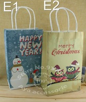 Size 27cm * 13cm * 8cm new 10 styles Christmas with handle paper bag food packaging kraft paper bag 10pcs