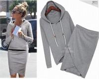 Hot Black Gray Cotton Sport Suit Women Casual Baseball 2pcs/set Tracksuits Female Sport Set(LULU Hoodies+Irregular Skirt)LSP487