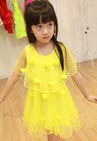 2014 new summer dress cute Korean girls cloak three-dimensional handmade flowers dresses