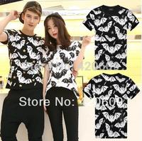 Free Ship Summer Short Sleeve Shirts Men Street Wear Shirt Hip Hop Tees Cotton Slim Top Bat Print