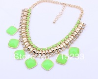 New Arrival Gold Chain Candy Color Resin Ribbon Bib Statement Chunky Necklaces Mixed Colors