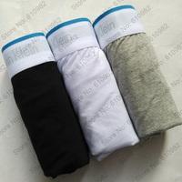 3 pcs Mens Underwear Cotton Best quality Good brand Boxers trunk Blue Edge Mix color Black Gray White Mix Order