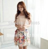High Quality! 2014 New Women's Summer Dress Charming Crewneck Chiffon Short Sleeve Floral Casual Dress lyq040