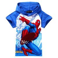 Free Shipping 6PCS / LOT Summer BABY & kids children hoodies Short-sleeved children t sirts Blue Spiderman Jacket T-shirt 8811