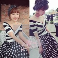 Stripe V-neck small sexy top dot polka dot skirt twinset vintage sweet elegant female