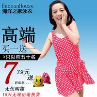Fashion big polka dot sexy plus size spa racerback dress style one piece swimwear female swimsuits yongyi