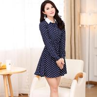 Patchwork puff sleeve one-piece dress elastic waist polka dot skirt sweet turn-down collar female long-sleeve women's dot