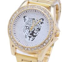 Neonatal Female White Tiger Watch, Geneva Steel Watches, Rhinestone Watches Free shipping