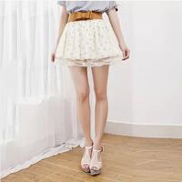 2014 young girl princess all-match basic female bust skirt short skirt gauze lace chiffon polka dot dress