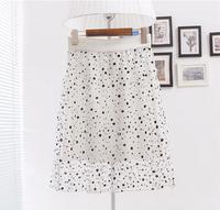 2014 female chiffon bust skirt gauze midguts polka dot dress over-the-knee skirt medium skirt