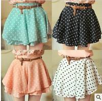 Summer women's 2014 vintage big polka dot short skirt elastic waist pleated ruffle chiffon bust skirt pants