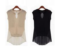 2014 New Women's 7 yards Short Chiffon Patchwork Top Women Medium-long Shirt Blouse size:s/m/l/xl/xxl