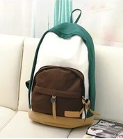 2014 preppy style female fashion backpack middle school students school bag color block canvas