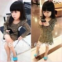 Wholesale children's clothing children dress girls new fashion princess long sleeve leopard dress Free Shipping