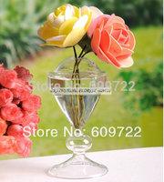 Modern 15 cm Artificial Flower Pots Planter Heart 4 pcs Wedding Home Decor Hanging Glass Vase Clear FL1464 vasos decorativos