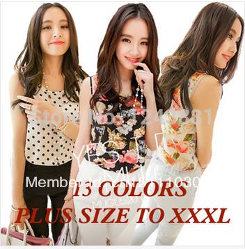 2015 Fashion Summer Women Clothing Chiffon Sleeveless Woman Loose Blouse Printed Causal Chiffon Blouses Shirt Women Top(China (Mainland))