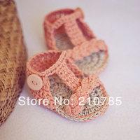 Free shipping Crochet Baby Sandals, Baby girls Handmade Crochet Knit summer Sandals shoes 0-12months
