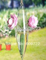 Modern Big 25 cm Artificial Flower Pots Planter 4 pcs Wedding Decor Hanging Glass Vase Clear Bonsai FL1461 vasos decorativos