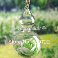 Modern 14 cm Artificial Flower Pots Planter Calabash 4 pcs Wedding Home Decor Hanging Glass Vase Clear Bonsai FL1462 decorativos