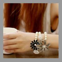 Retail Trendy Flower/ Camellia Pearl Bracelets&Bangles.