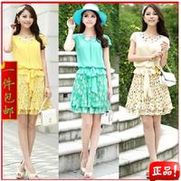 Summer women's skirt fashion young girl chiffon one-piece dress summer AYILIAN peter pan collar