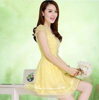 2014 summer slim o-neck short-sleeve organza lace one-piece dress female skirt