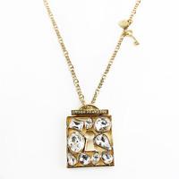 2014 Promotion Time-limited Trendy Pendant Necklaces Women Alloy New J . Dyrberg Kern Lady Square Pendant 14k Necklace Long Dk