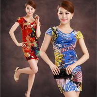 Milk viscose short-sleeve short design slim one-piece dress female slim hip clothing step short skirt